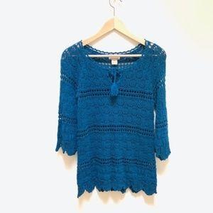 Lucky brand blue crochet top M